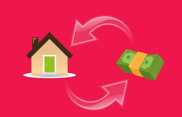 animovaný obrázek – hypotéka – výměna peněz za dům